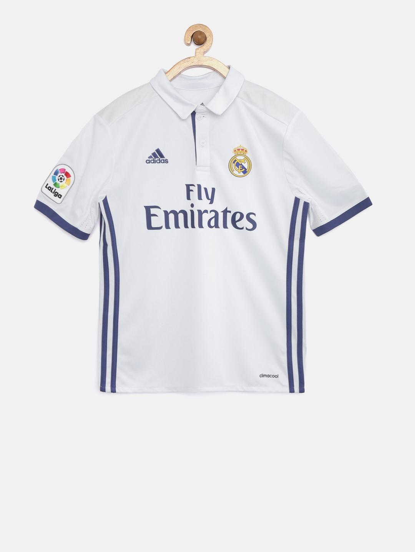 8cf70cb9a Buy Adidas Boys White Real Madrid F C Printed Polo Collar T Shirt