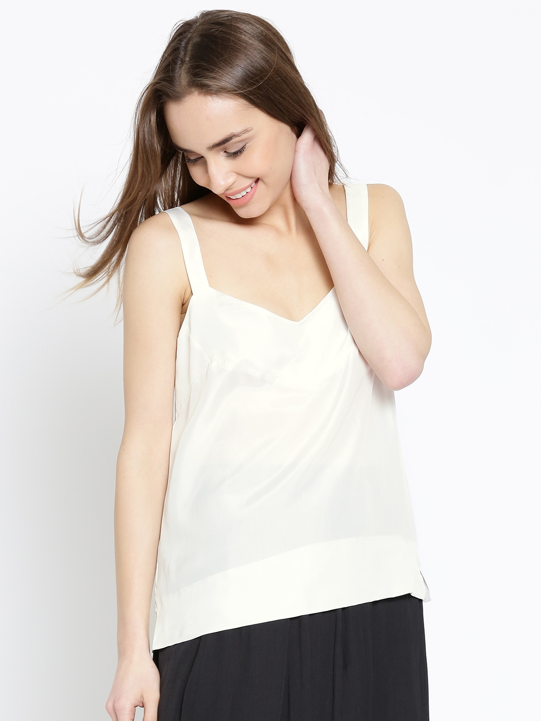 f5b94cac4a8c8d Buy MANGO Women White Silk Solid Satin Finish Top - Tops for Women ...