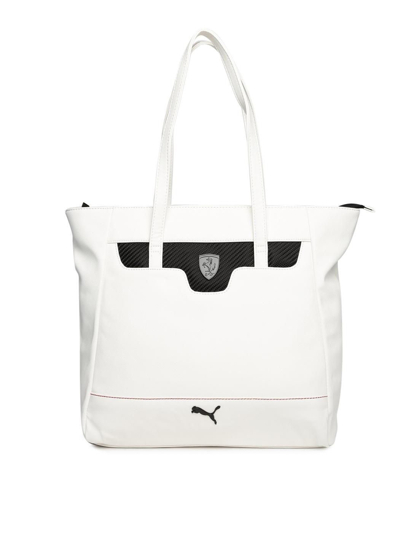 c2982abc8817 Buy PUMA Ferrari White   Black Ferrari LS Shopper Tote Bag - Handbags for Women  1673357