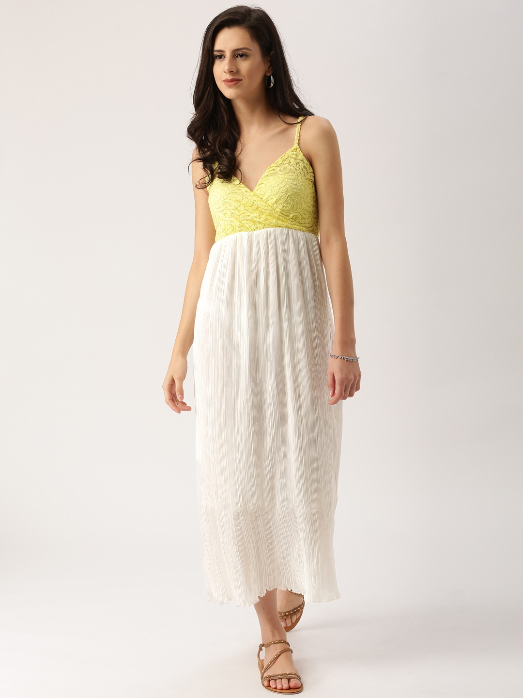f7c78d990 Buy All About You Women White   Yellow Accordion Pleat Maxi Dress ...