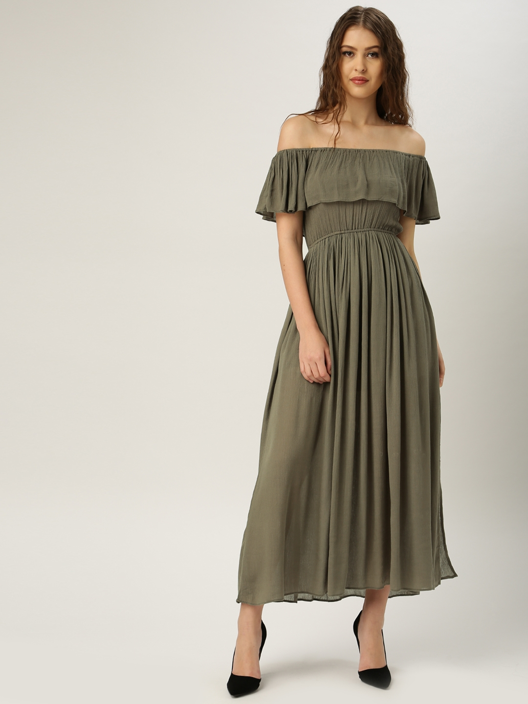 39120615255c all about you from Deepika Padukone Olive Green Solid Off-Shoulder Maxi  Dress