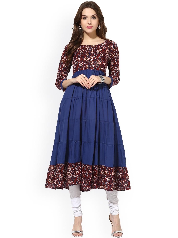 Buy Aks Women Maroon Amp Blue Printed Anarkali Kurta