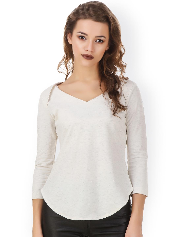 d918eac9251 Buy Texco Women Off White Solid Regular Top - Tops for Women 1673851 ...