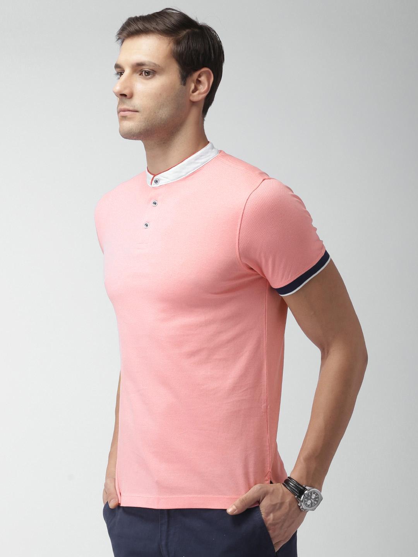 99e01412 Buy INVICTUS Pink Solid Mandarin Collar T Shirt - Tshirts for Men ...