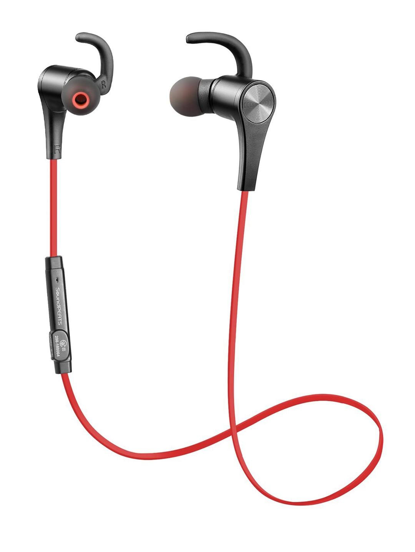 SoundPEATS Red   Black Q12 Bluetooth 4.1 Wireless In Ear Earphones with Mic