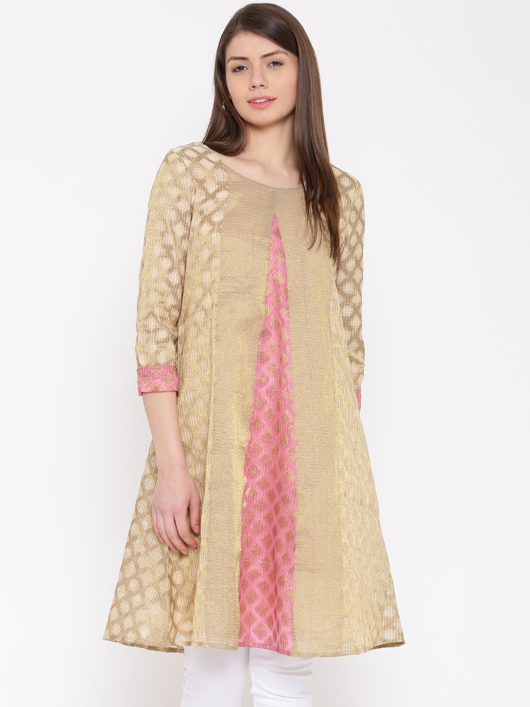 Buy Drama Sisters Women Golden Brocade Pattern A Line Kurta Kurtas