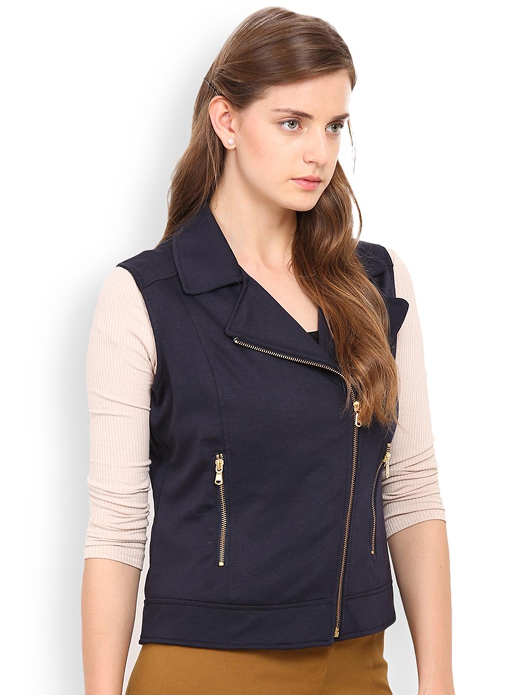 9c786e725c74e Buy Gipsy Navy Sleeveless Biker Jacket - Jackets for Women 1679299 ...