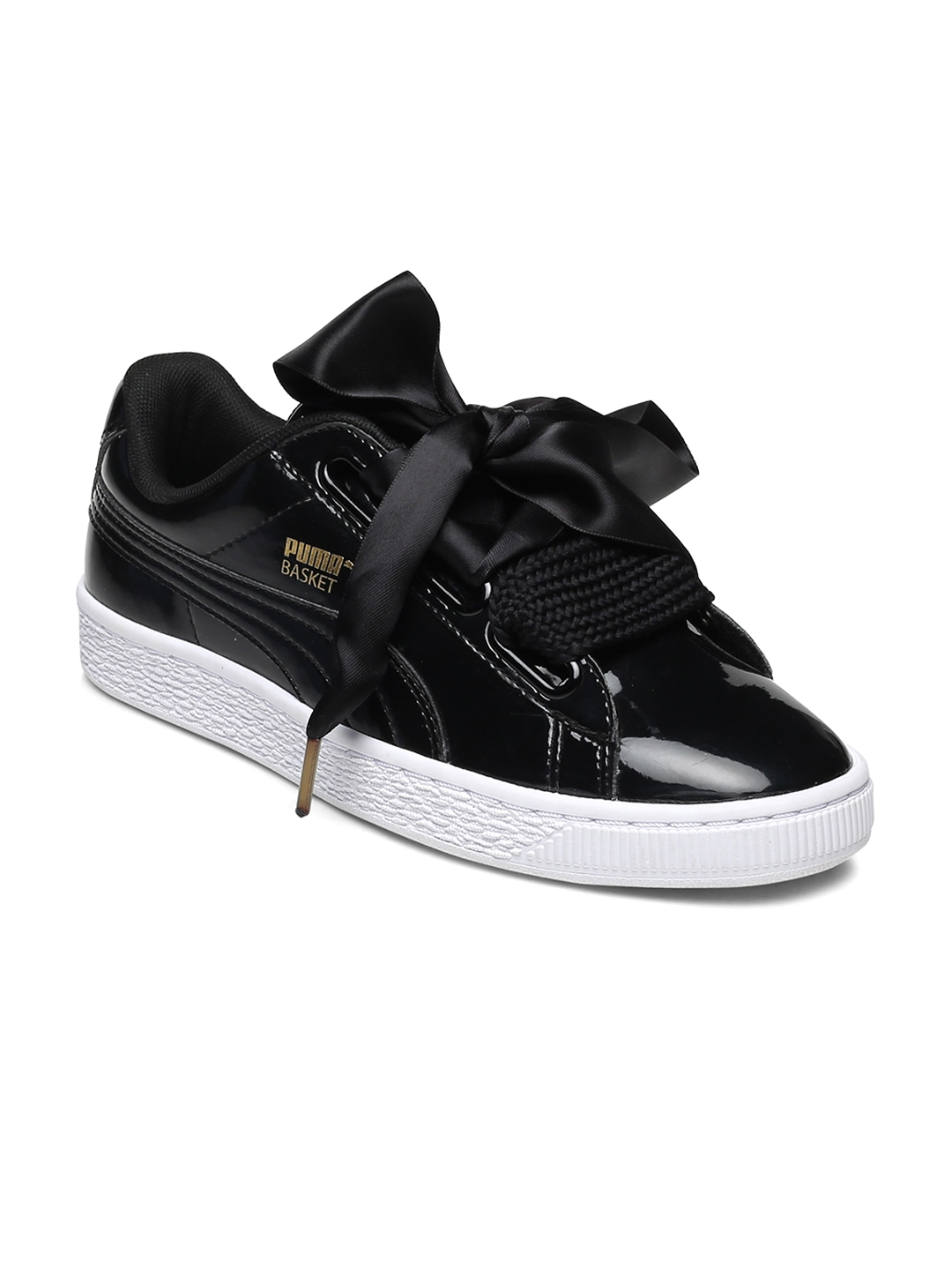 b75df8bb326eb4 Buy Puma Women Black Solid Regular Basket Heart Sneakers - Casual ...