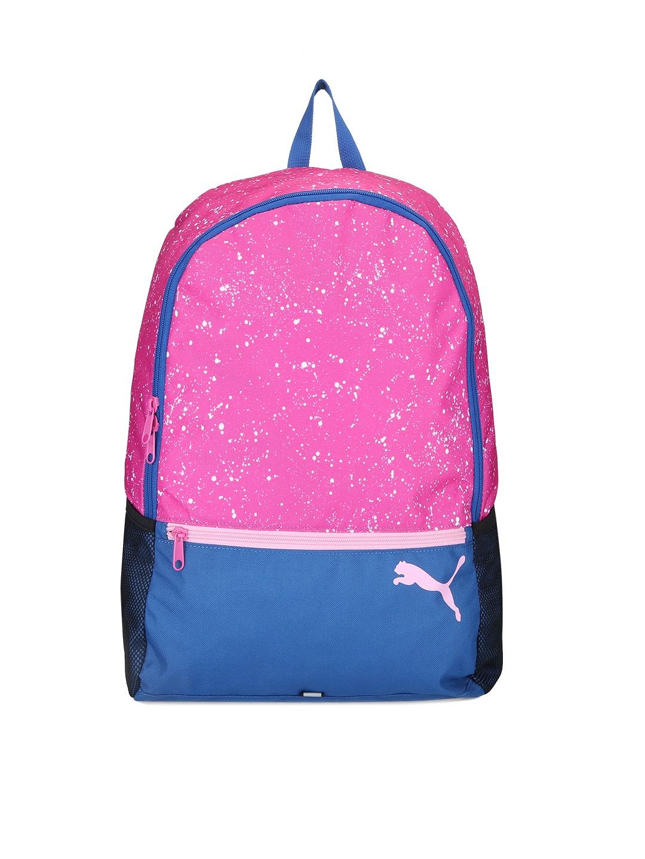 temperamento Cinco Resbaladizo  Buy PUMA Women Pink & Blue Printed Alpha Backpack - Backpacks for Women  1682804   Myntra