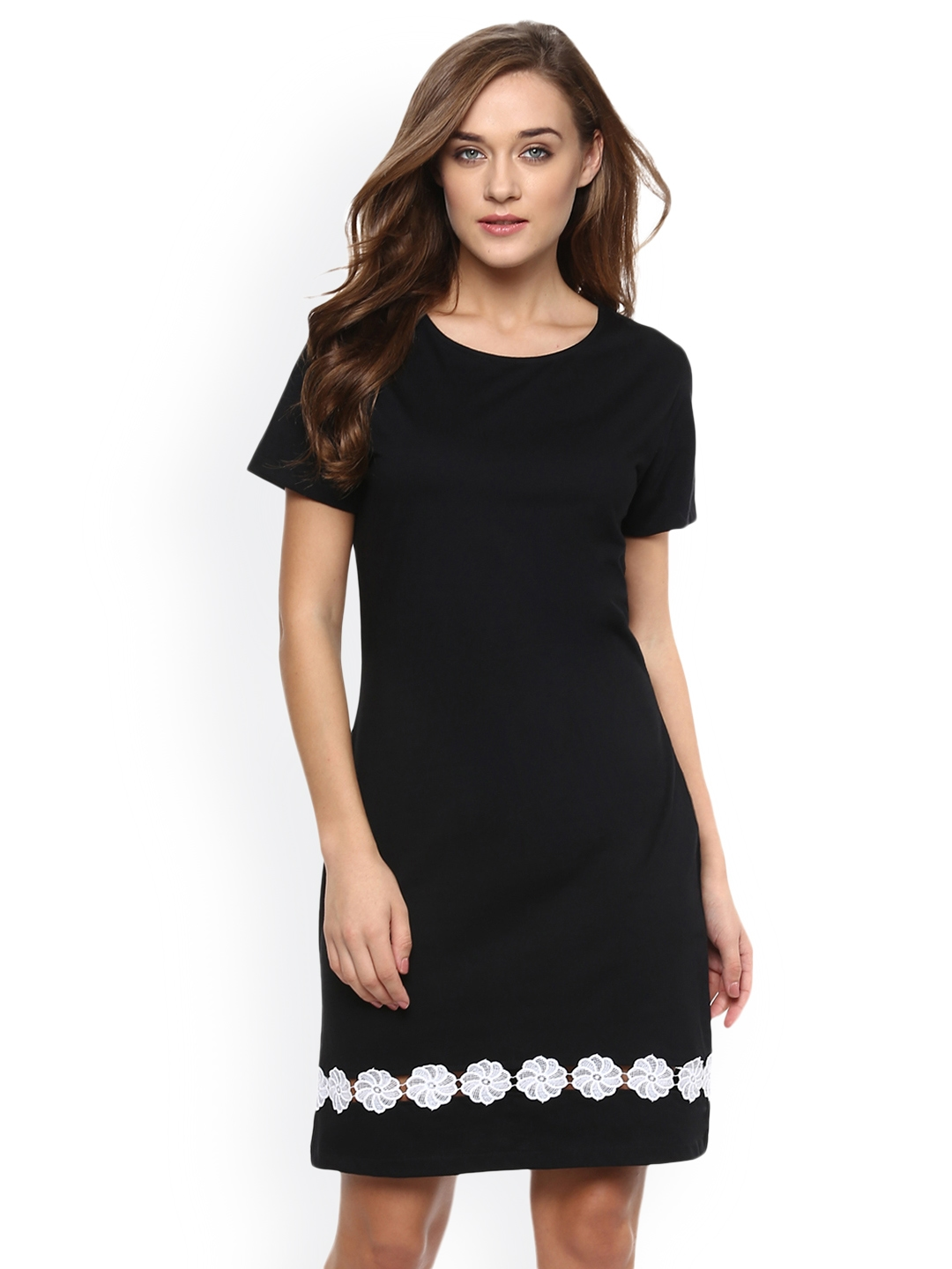 Miss Chase Women Black Solid Shift Dress
