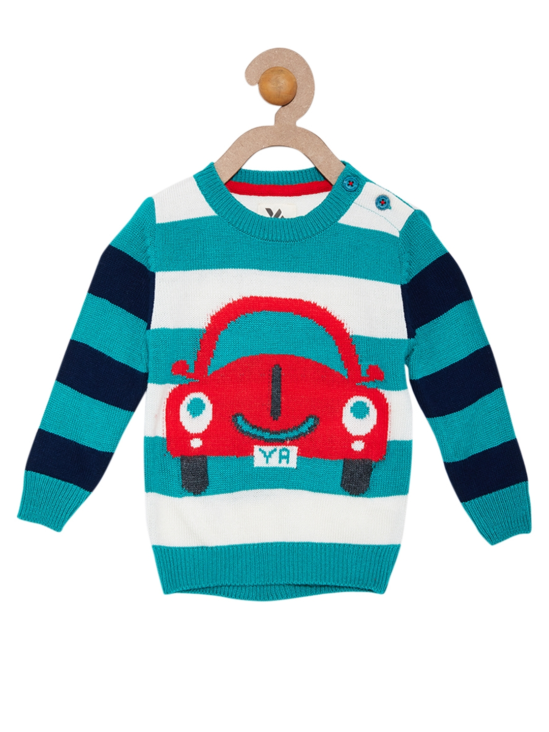Buy Yellow Apple Boys Blue & White Striped Sweater - Sweaters for ...