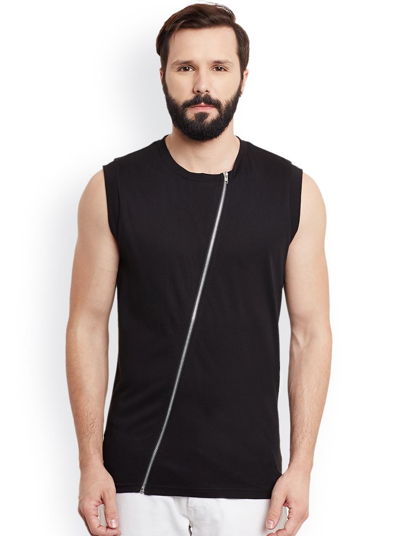 GRITSTONES Men Black Solid Round Neck Sleeveless T shirt