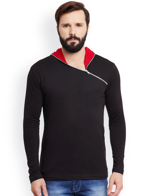 GRITSTONES Men Black Solid Hooded T shirt