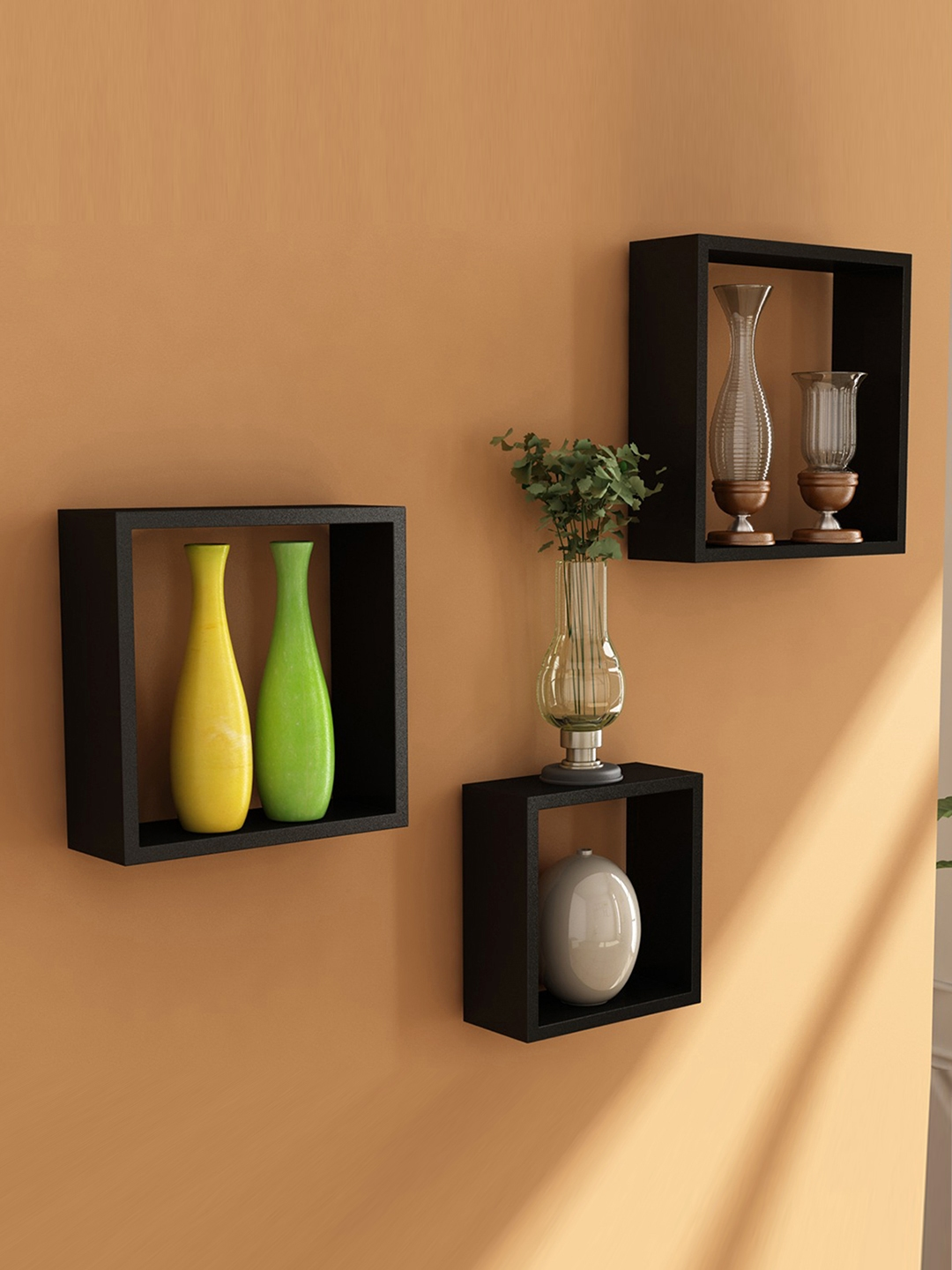 Home Sparkle Wooden Cube Set of 3 Wall Shelves