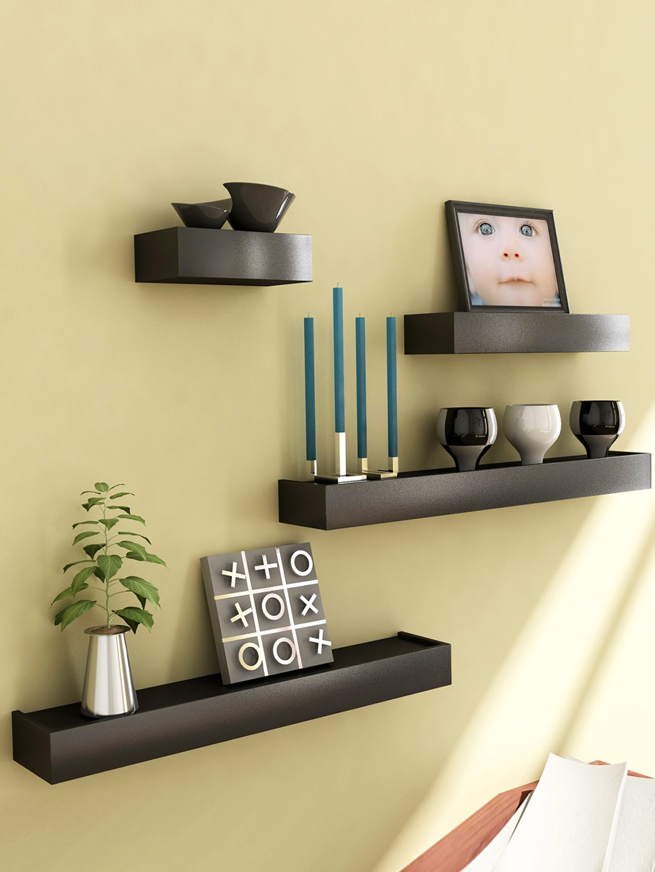 Home Sparkle Set of 4 Black Wall Shelves