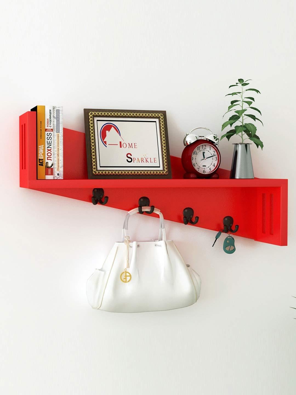 Home Sparkle Red Mango Wood Wall Shelf with Key Holders Home Sparkle Wall Shelves