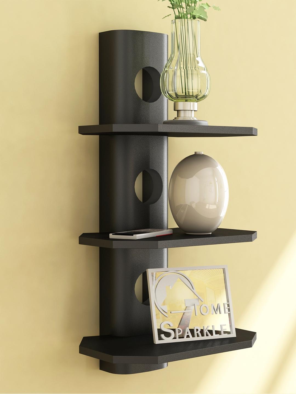 Home Sparkle Black Mango Wood 3 Tier Wall Shelf