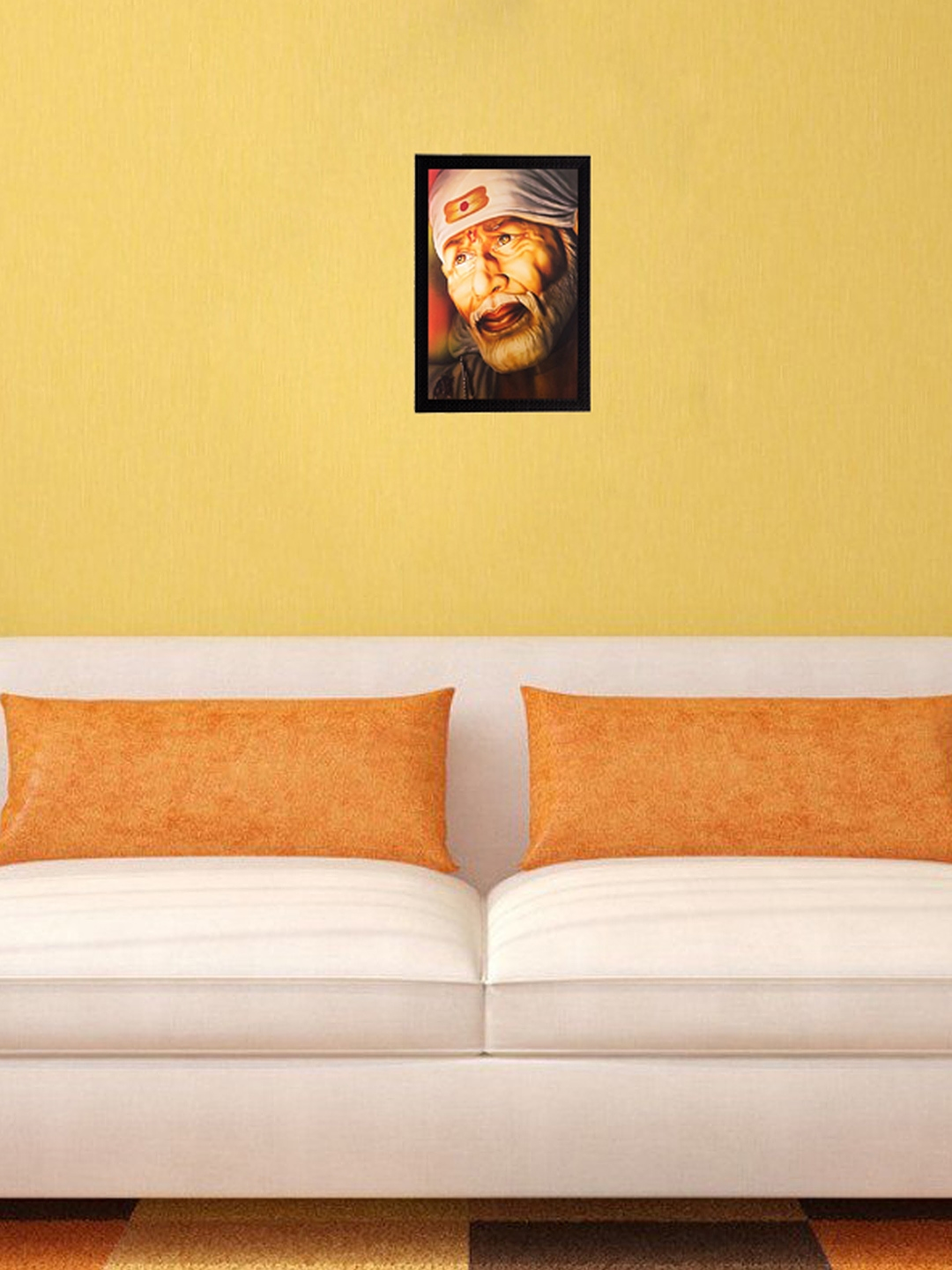 Buy ECraftIndia Brown Enlightening Sai Baba UV Framed Wall Art ...