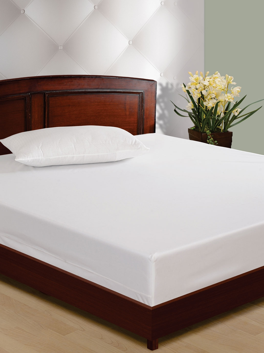 Indian modern double beds - Swayam White Double Bed Mattress Protector
