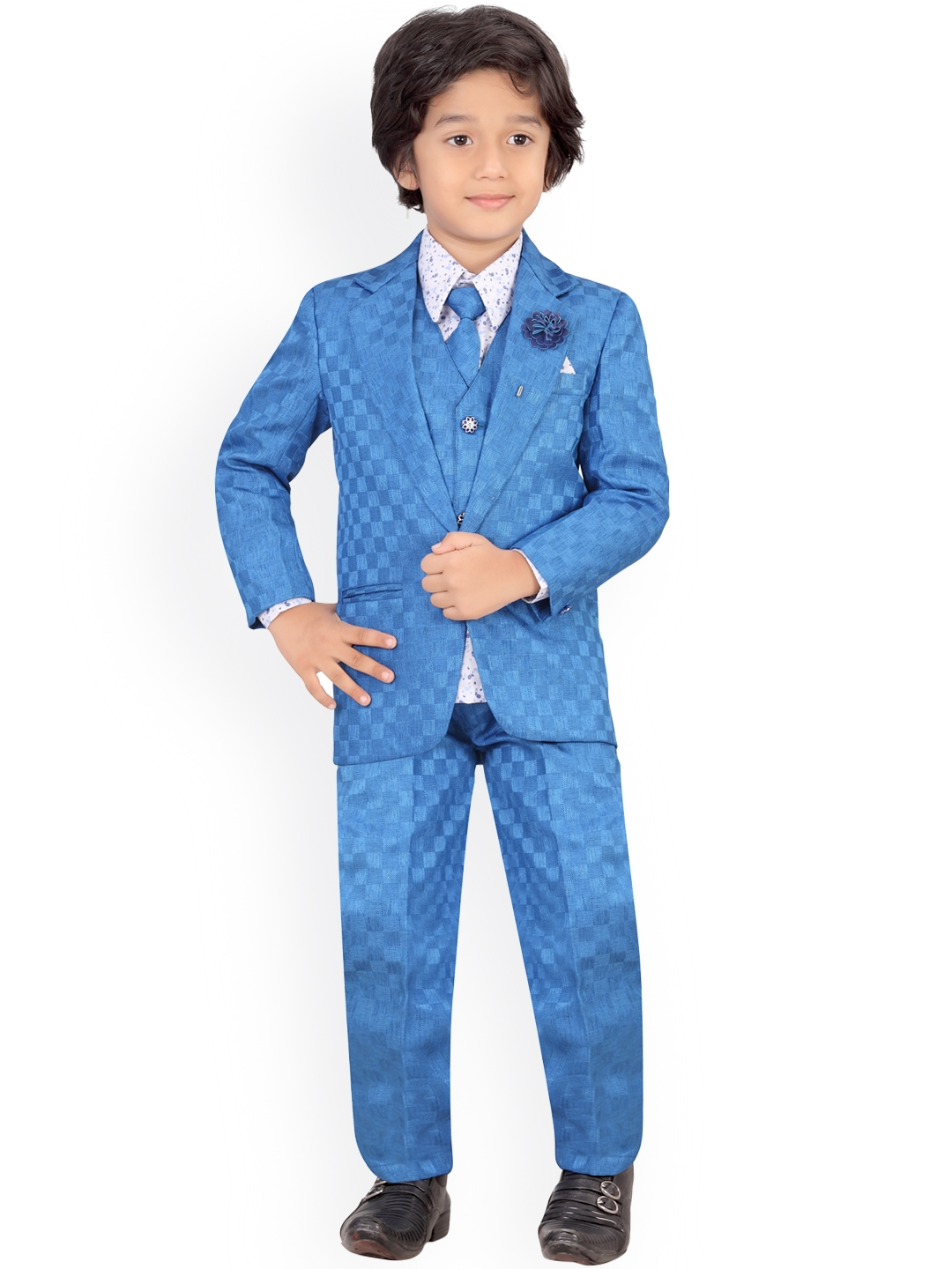 f4a4b54c6 Buy Jeetethnics Boys Blue Single Breasted Regular Fit Party Suit ...