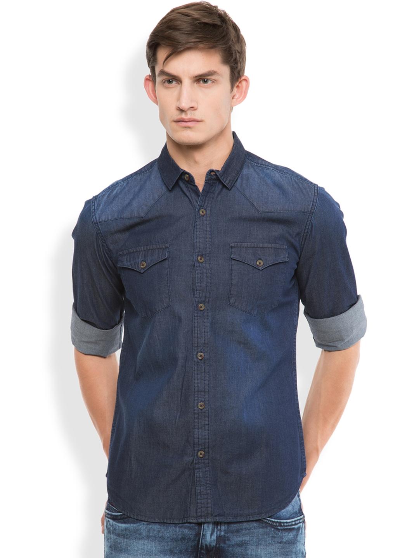 49f5e0852 Modern double pocket shirt Source · Buy HIGHLANDER Men Blue Slim Fit Solid  Casual Shirt Shirts for Men