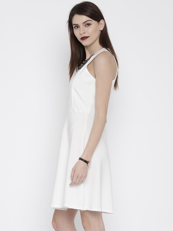 5577faef42 Buy Deal Jeans Women White Solid Skater Dress - Dresses for Women ...