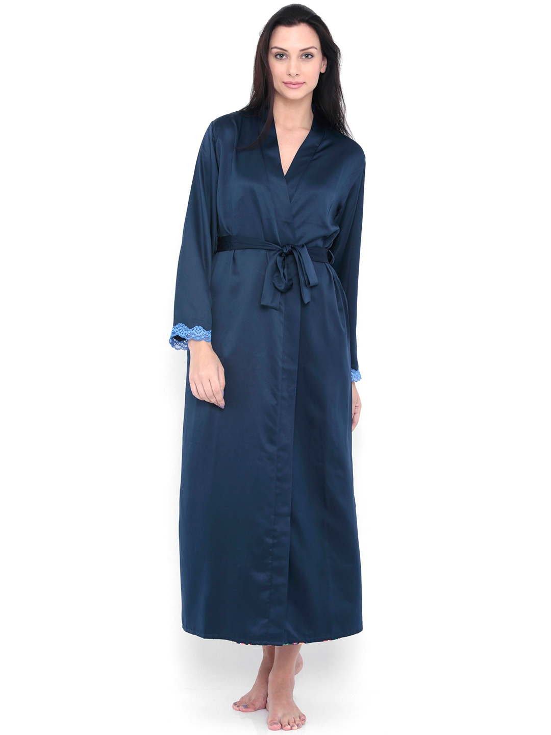 Buy PrettySecrets Navy Satin Chemise Midi Nightdress With Robe ... 9626e35d4