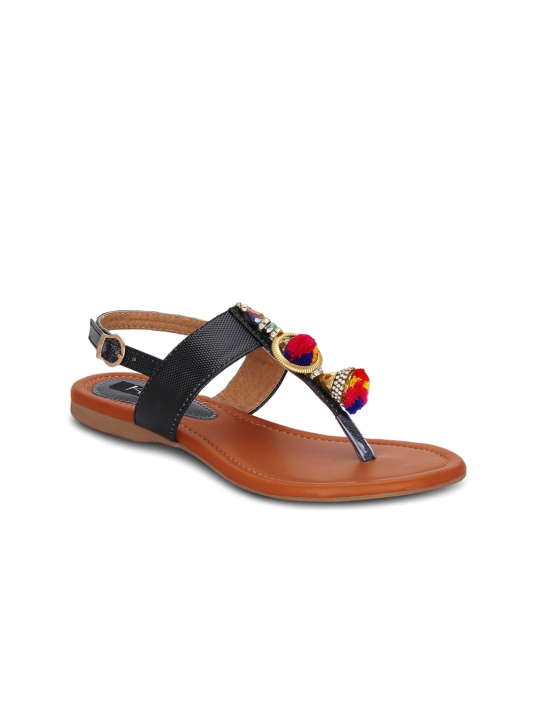 f39bda8b2968b7 Buy Kielz Women Black Solid Sandals - Flats for Women 1699681