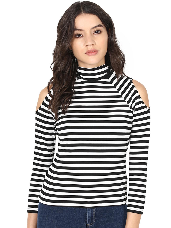 0778c867669fb7 Buy Harpa Women Black   White Striped Cold Shoulder Top - Tops for ...