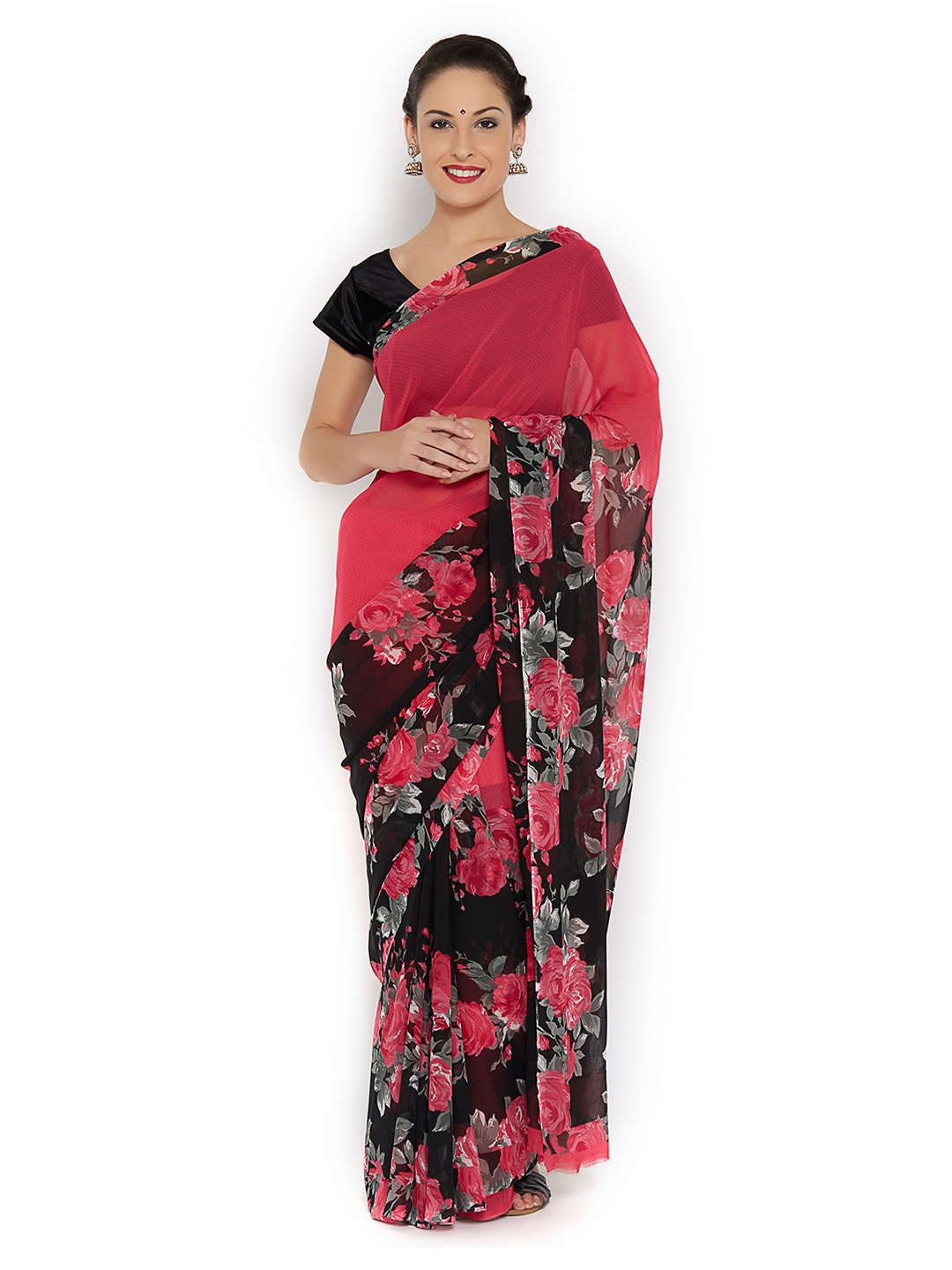 8bbb428736bb84 Buy Ishin Pink Faux Georgette Printed Saree - Sarees for Women ...