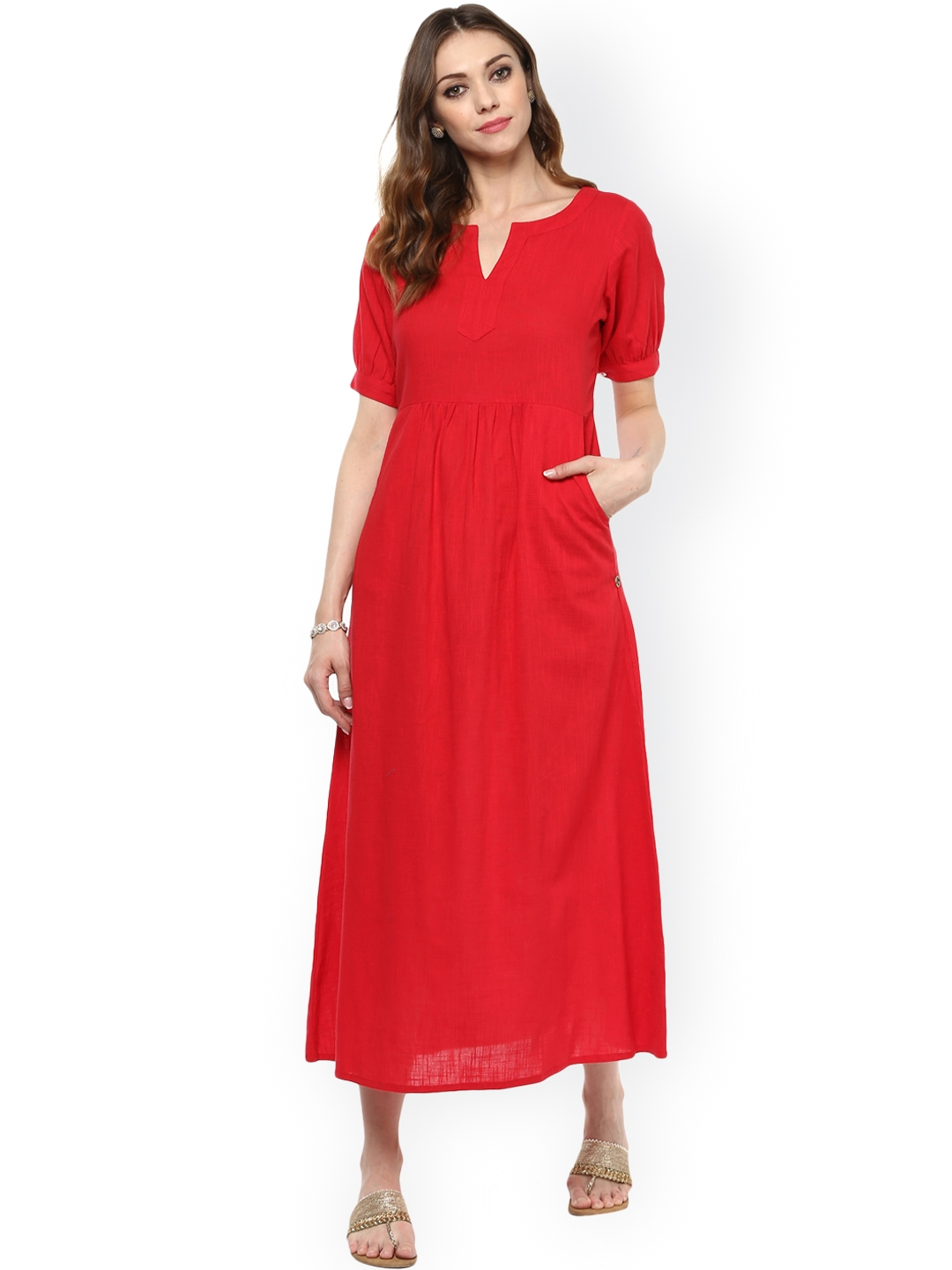 Buy Jaipur Kurti Women Red Solid Maxi Dress - Dresses for ...