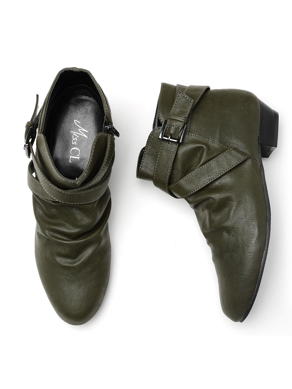 d2f6c3d00d1b90 Buy Carlton London Women Olive Solid Mid Top Flat Boots - Casual ...