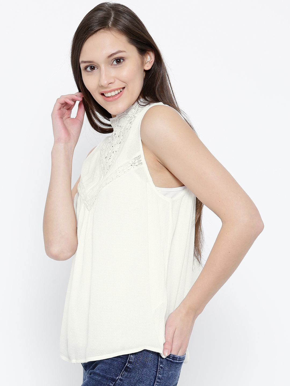 29b9a5345ea2 Buy Vero Moda Women White Lace Detail Top - Tops for Women 1702952 ...