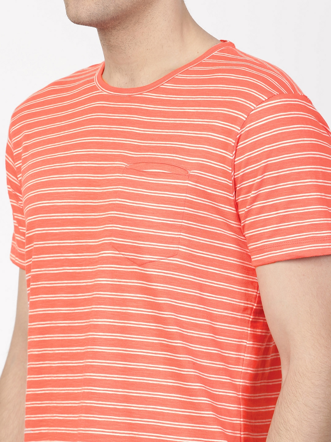 efc35690a7 Buy Ether Men Orange & White Lightweight Striped Round Neck T Shirt ...