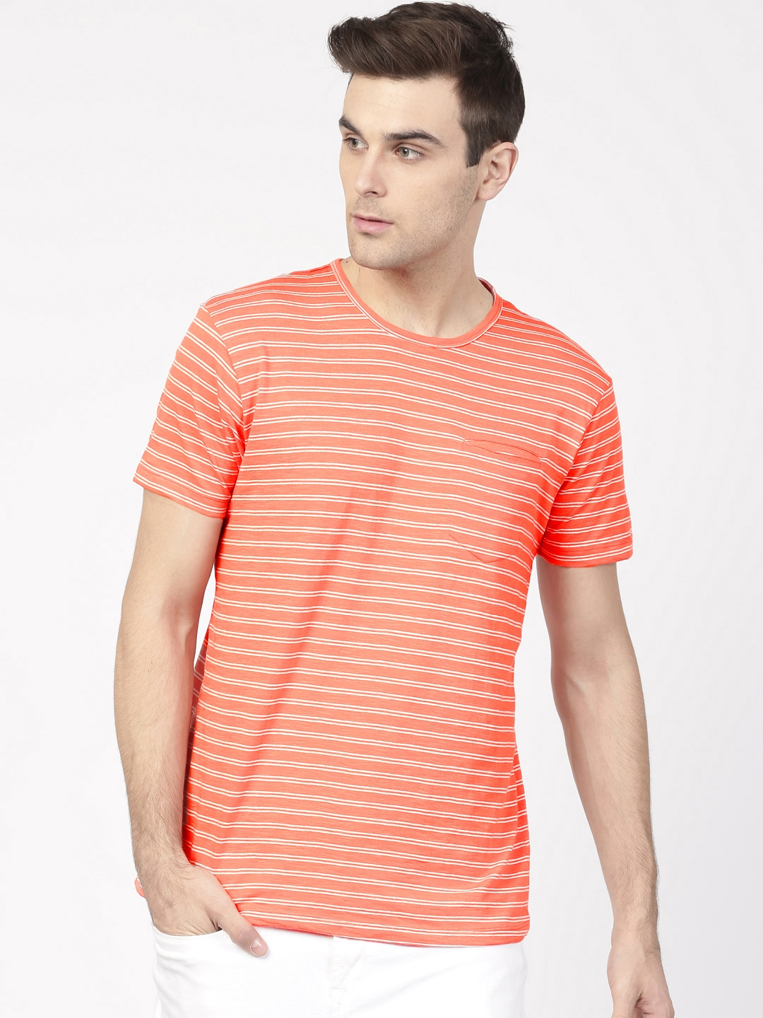 4b99fb6f27 Buy Ether Men Orange & White Lightweight Striped Round Neck T Shirt -  Tshirts for Men 1704551 | Myntra