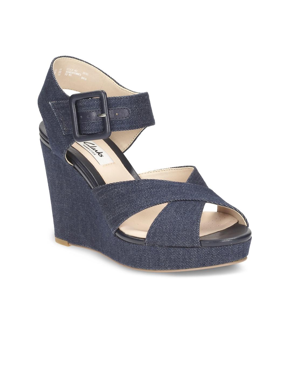 582df8f0f9add Buy Clarks Women Blue Woven Wedges - Heels for Women 1704887