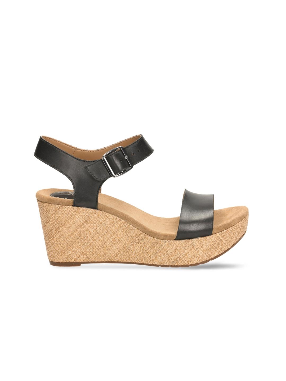 05593143bad4 Buy Clarks Women Black Leather Wedges - Heels for Women 1704897