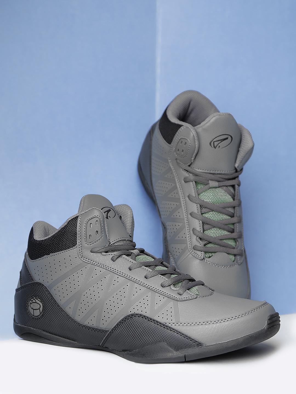 Boltio Men Grey   Black Colourblocked Basketball Shoes