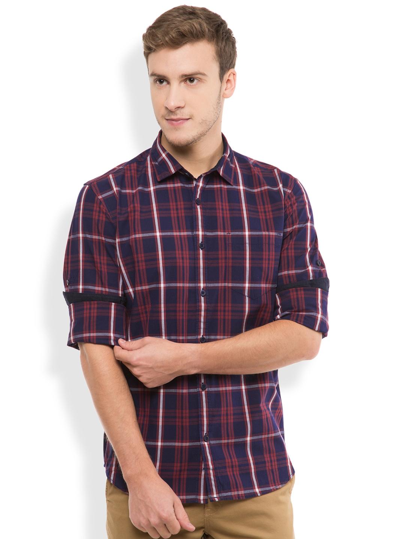 6e6881e2c84b Buy HIGHLANDER Navy Checked Slim Fit Casual Shirt - Shirts for Men ...