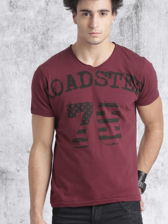 166571ffd Buy Roadster Men Maroon Printed V Neck T Shirt - Tshirts for Men ...