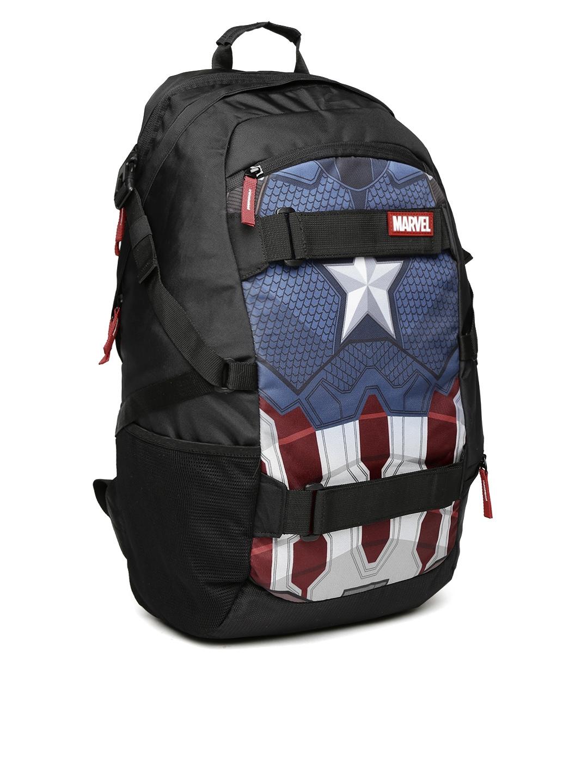 Kook N Keech Marvel Unisex Black   Navy Captain America Star Printed  Backpack 4f800ff454fe4