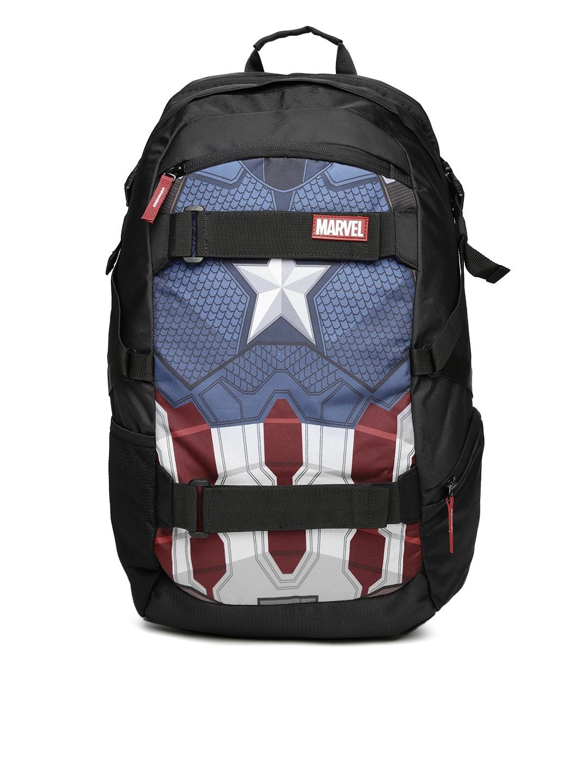 Buy Kook N Keech Marvel Unisex Black   Navy Captain America Star ... a415eddcddc4f