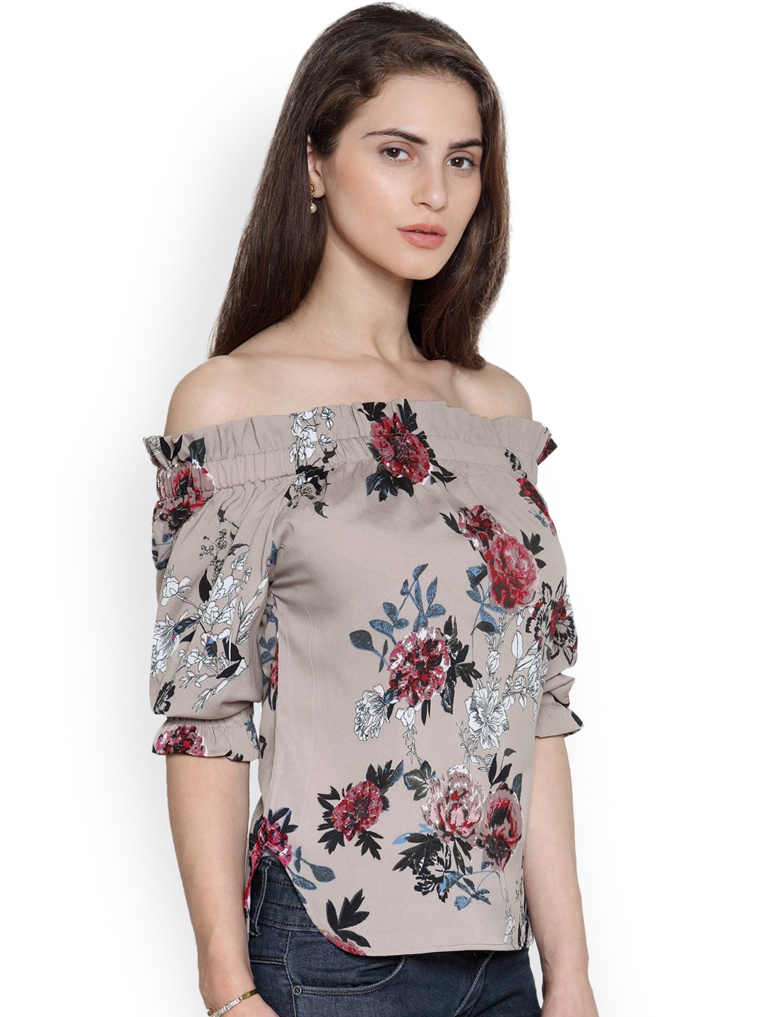 fde9f87a2da510 Buy Envy Me Women Beige Printed Off Shoulder Top - Tops for Women ...