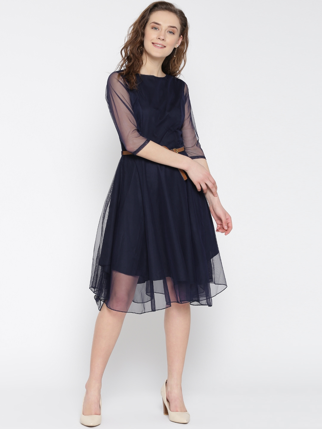 Buy U Amp F Women Navy Solid Net Fit Amp Flare Dress Dresses