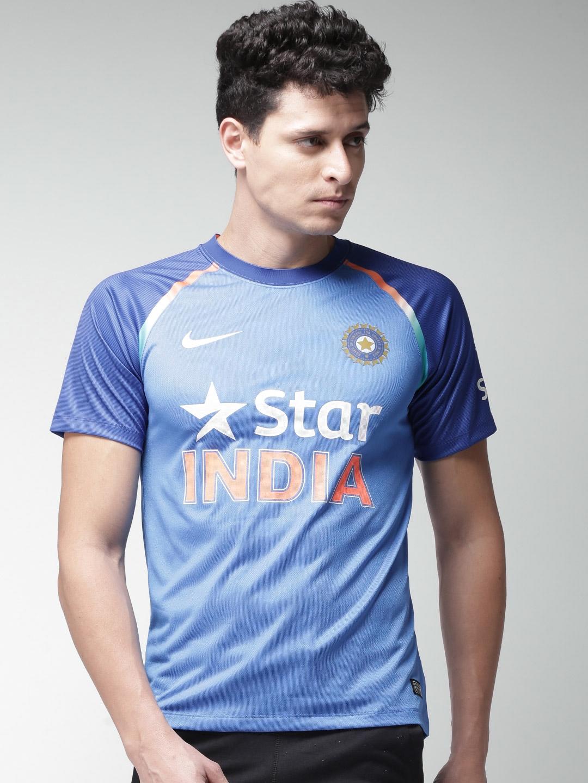 2f2fa5997a9d Buy Nike Men Blue BCCI Dry SPTR SS Printed India ODI Jersey T Shirt ...