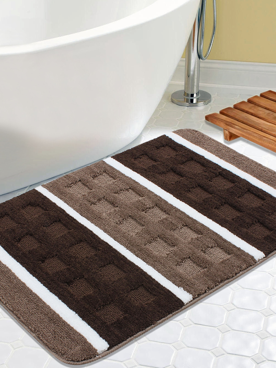 3f259bd42083 Buy Saral Home Brown Striped Rectangular Bath Rug - Bath Rugs for ...