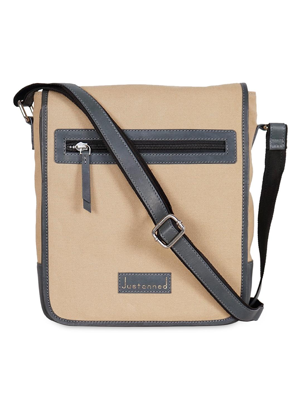 9553c697f5 Buy Justanned Men Beige Leather Messenger Bag - Messenger Bag for ...