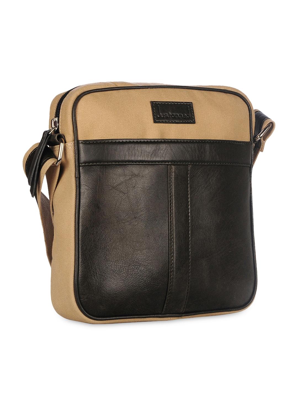 ddf3b332c8 Buy Justanned Men Black   Beige Colourblocked Leather Messenger Bag ...