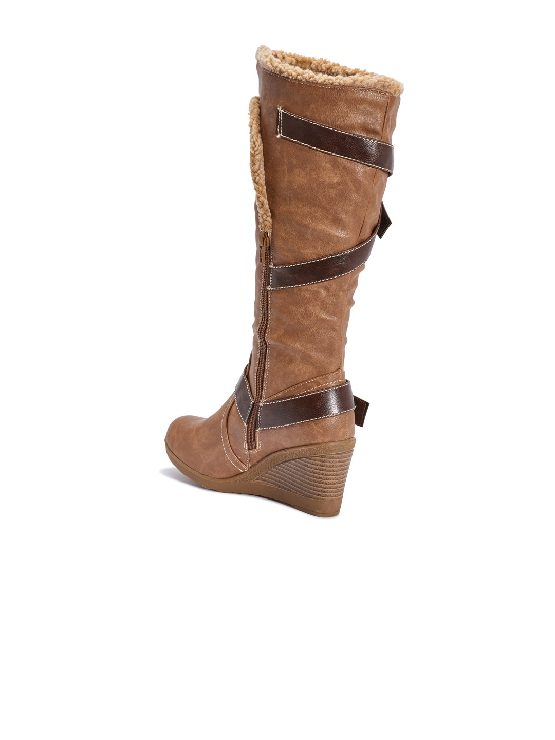 b7752793df132 Buy Truffle Collection Women Tan Brown Solid High Top Flat Boots ...