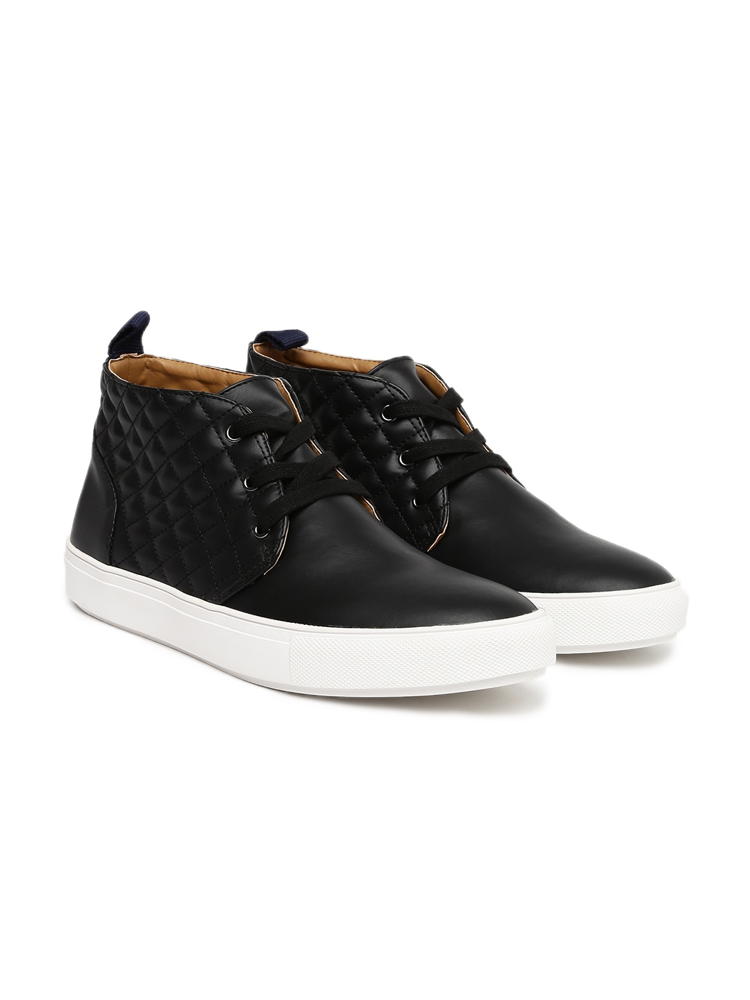e837991f8d7 Steve Madden Men Black Quilted Mid-Top Sneakers
